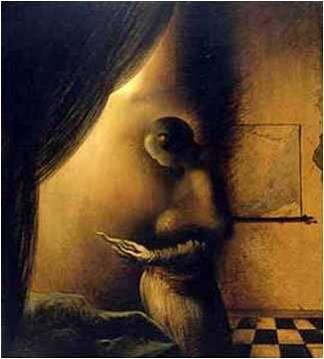 Rostro o mujer leyendo... (pintura de Dalí).