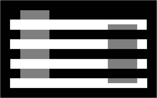 Aunque no lo parezca, ambos rectángulos son del mismo tono de gris.